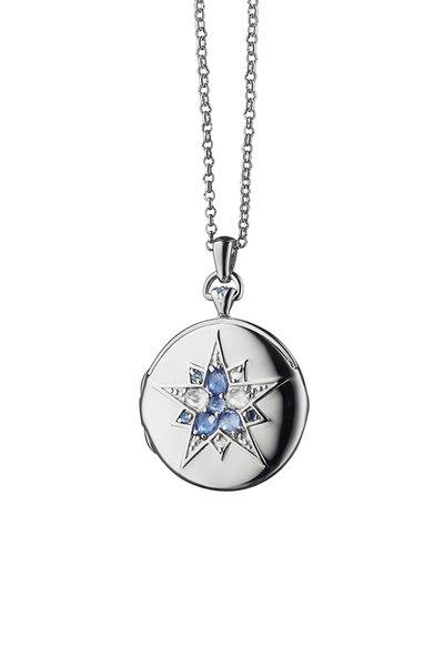 Monica Rich Kosann - Silver Sapphire Burst Locket Necklace