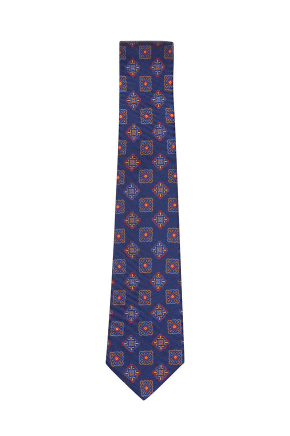Kiton Navy Blue Silk Medallion Necktie