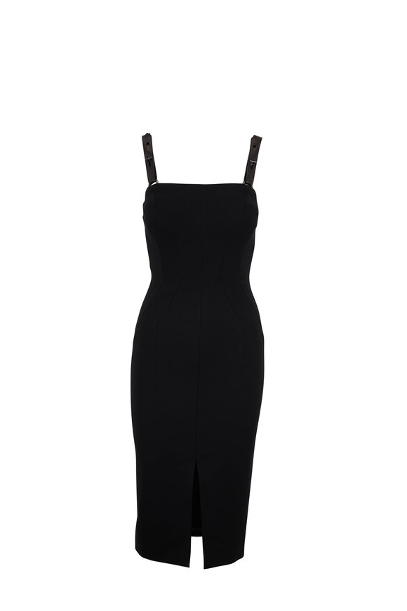 Tom Ford Black Cady Leather T-Straps Dress