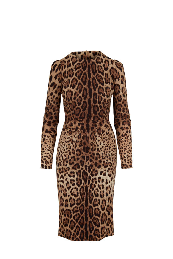Dolce & Gabbana Leopard Print Long Sleeve Fitted Dress