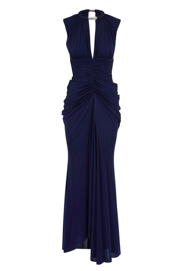 Alexander McQueen Sapphire Blue Jewel Necklace Gown