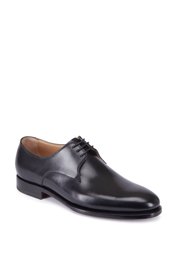 Kiton Black Leather Blucher Shoe