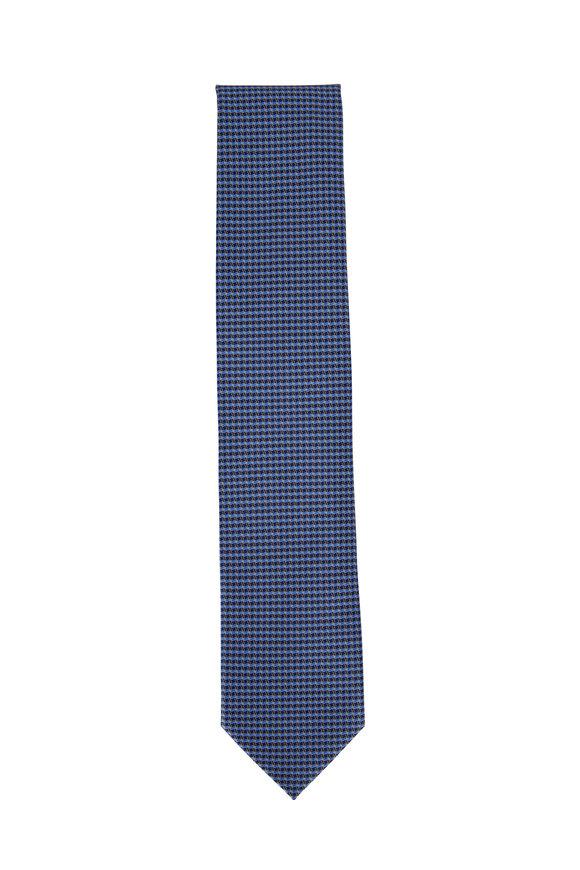 Ermenegildo Zegna Blue Check Silk Necktie