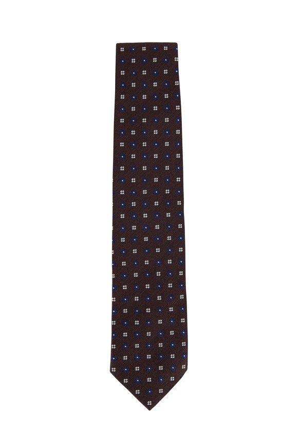 Bigi Brown & Navy Blue Mini Floral Silk Necktie