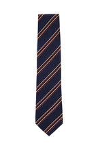 Bigi - Navy Blue & Brown Striped Silk Necktie