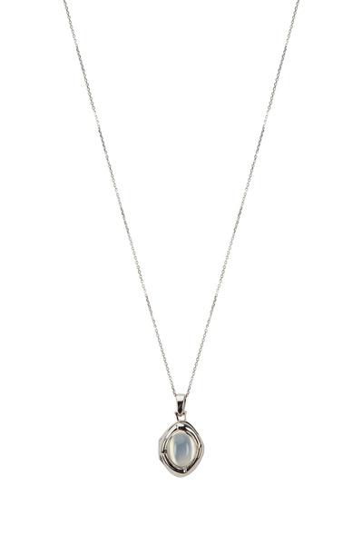 Monica Rich Kosann - Silver Calcite & White Sapphire Locket Necklace