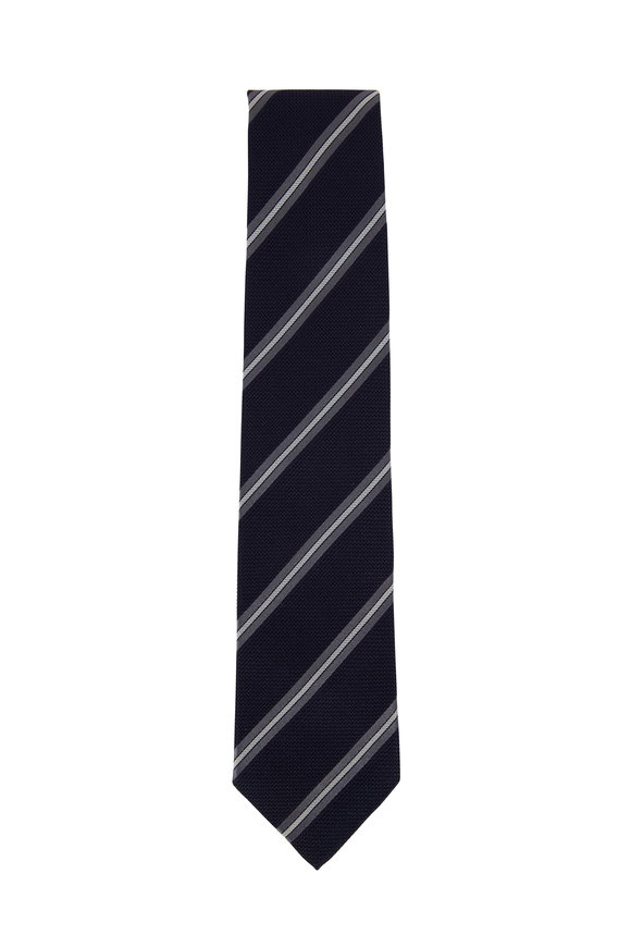 Bigi Navy Blue & Pewter Striped Silk Necktie