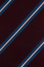 Bigi - Burgundy & Blue Striped Silk Necktie