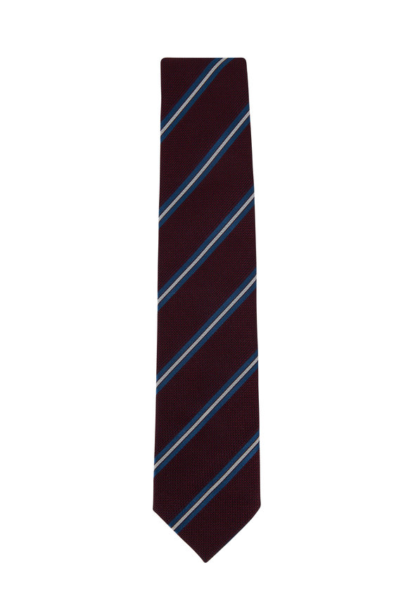 Bigi Burgundy & Blue Striped Silk Necktie