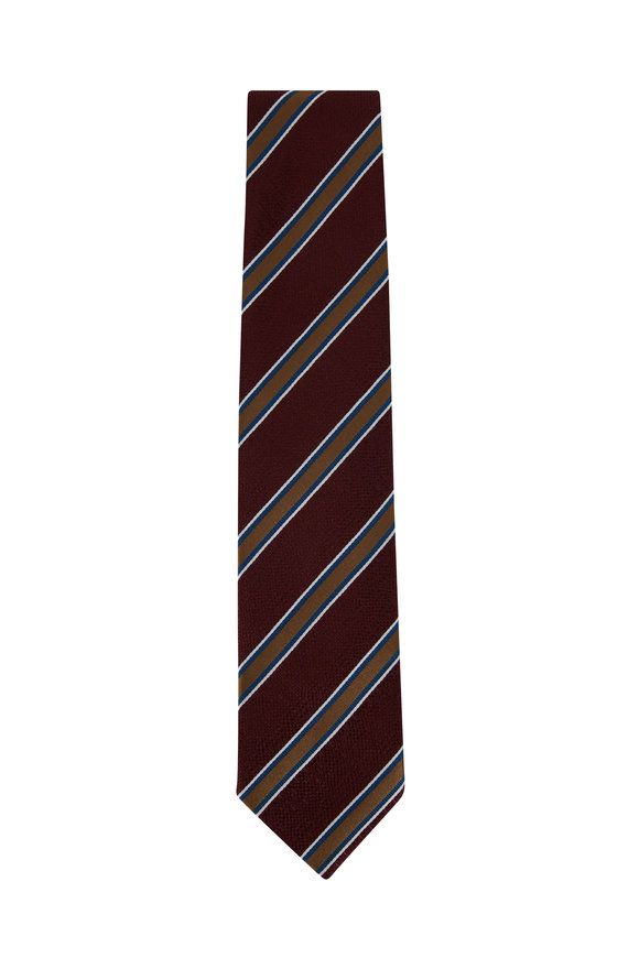 Bigi Burgundy & Gold Striped Silk Necktie