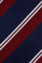 Bigi - Navy Blue & Dark Red Striped Silk Necktie