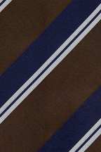 Bigi - Navy & Bronze Striped Silk Necktie