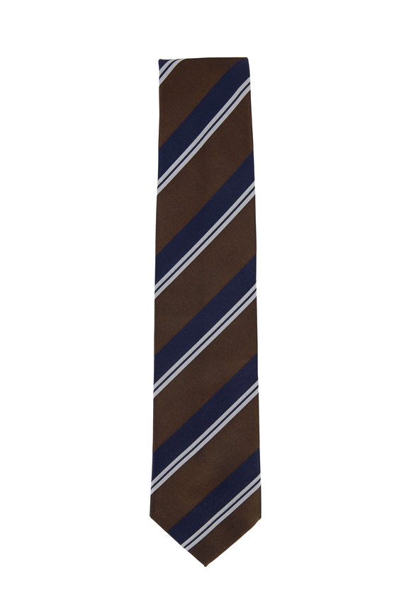 Bigi Navy & Bronze Striped Silk Necktie