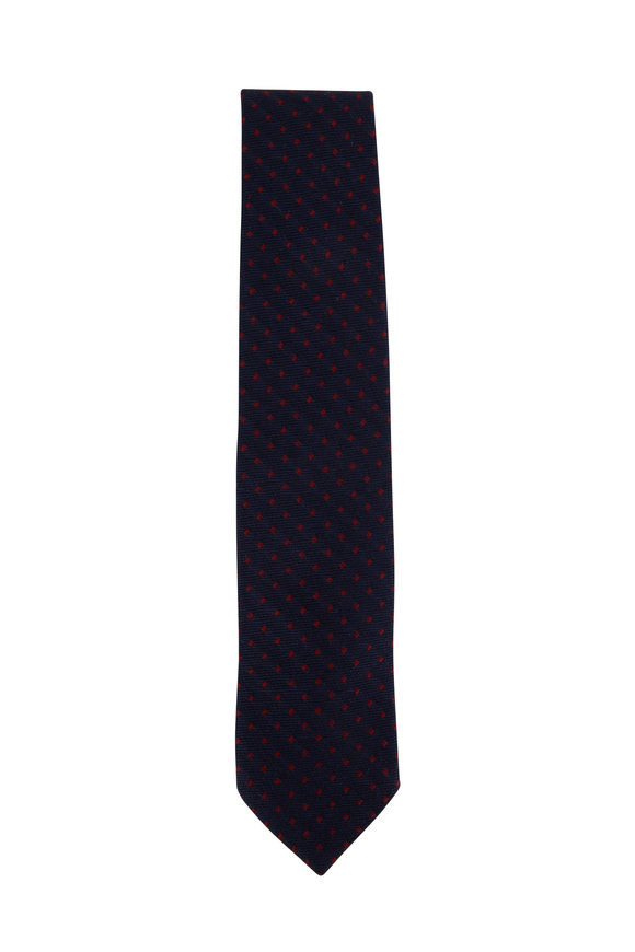 Bigi Navy Blue & Red Dot Cashmere Necktie