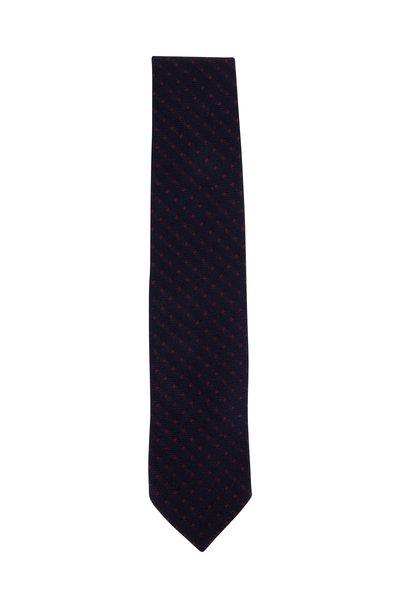 Bigi - Navy Blue & Red Dot Cashmere Necktie