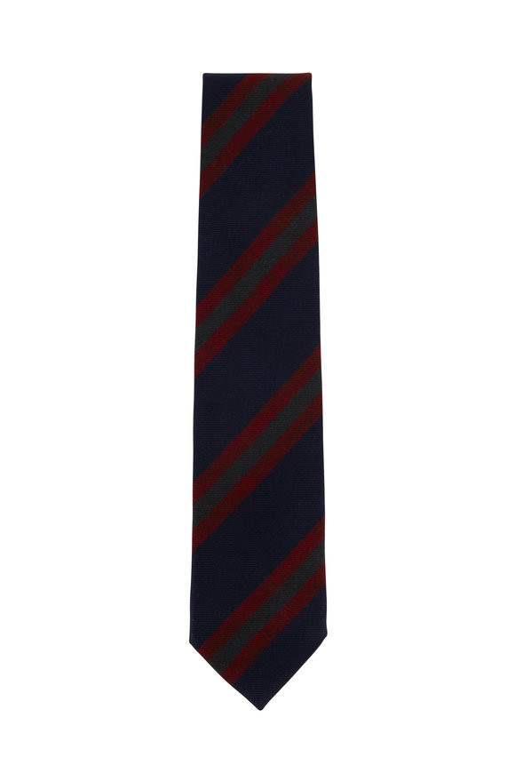 Bigi Navy & Dark Red Striped Cashmere Necktie