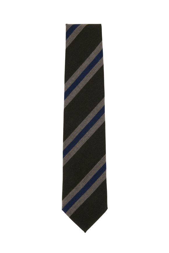 Bigi Green & Tan Striped Cashmere Necktie