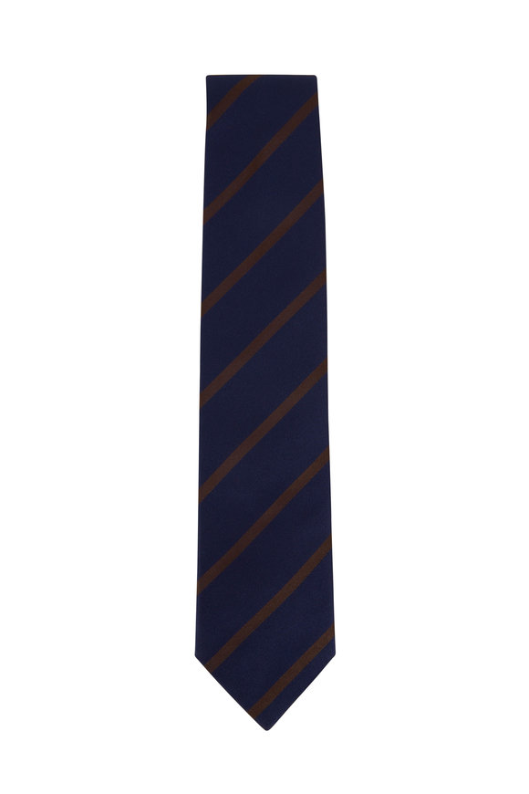Bigi Navy Blue & Brown Striped Silk Necktie