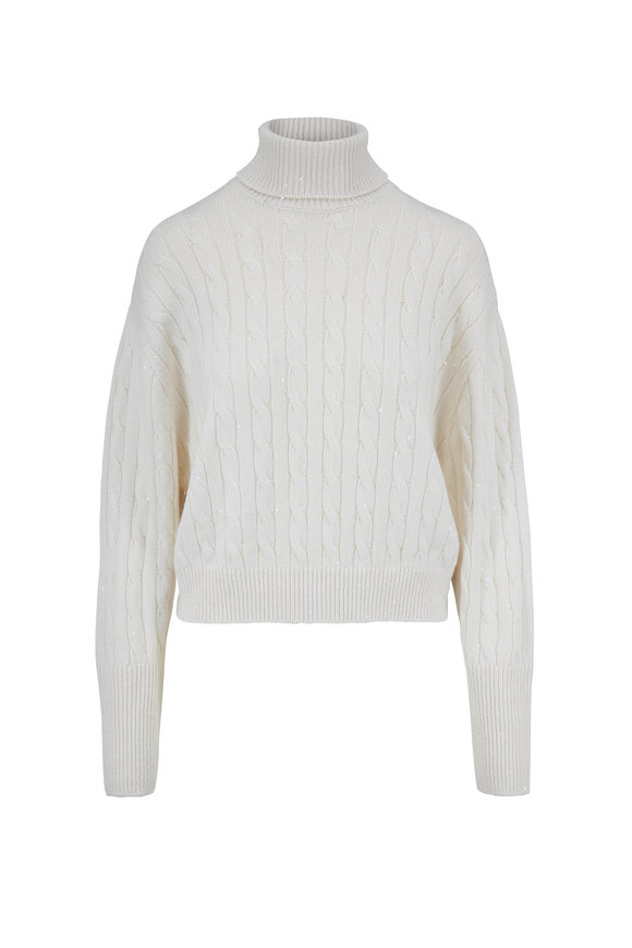 Brunello Cucinelli Exclusively Ours! White Cable Knit Sweater
