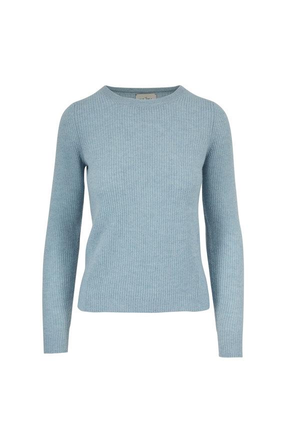 Le Kasha Dublin Light Blue Cashmere Fitted Sweater