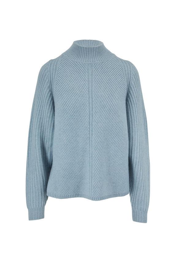 Le Kasha Galicia Light Blue Cashmere Diagonal Rib Sweater