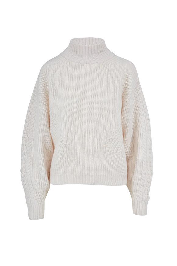 Le Kasha Rennes White Cashmere Cable Knit Sweater