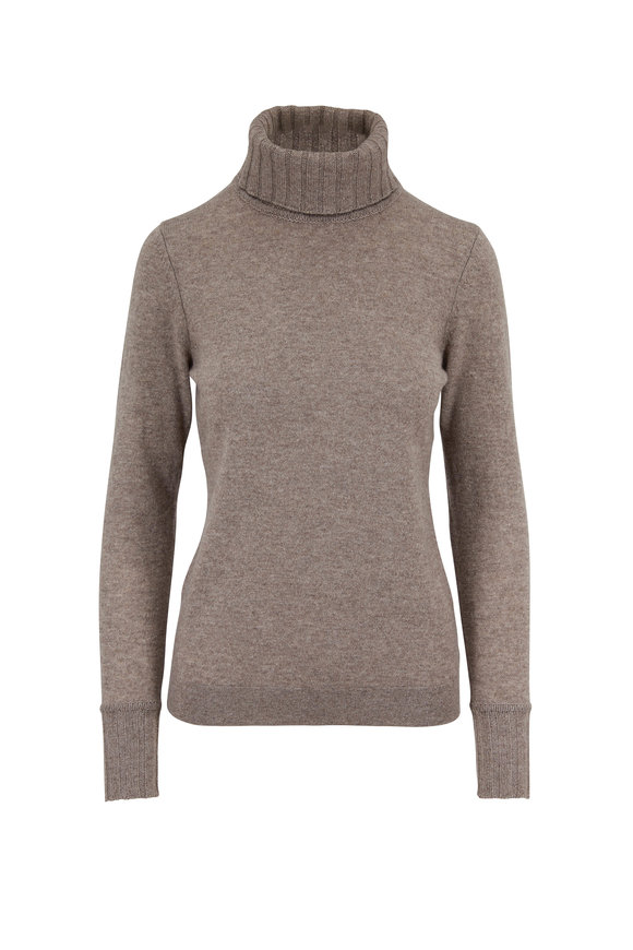 Kinross Suede Cashmere Turtleneck Sweater