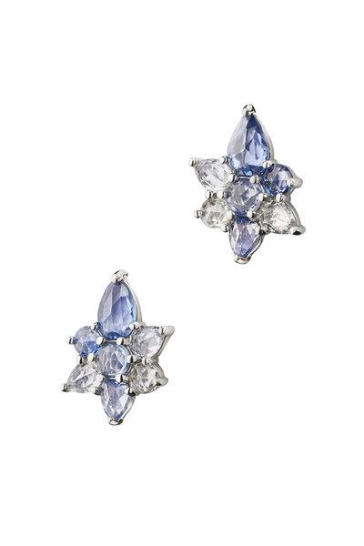 Monica Rich Kosann - Sterling Silver Sapphire & Crystal Star Studs