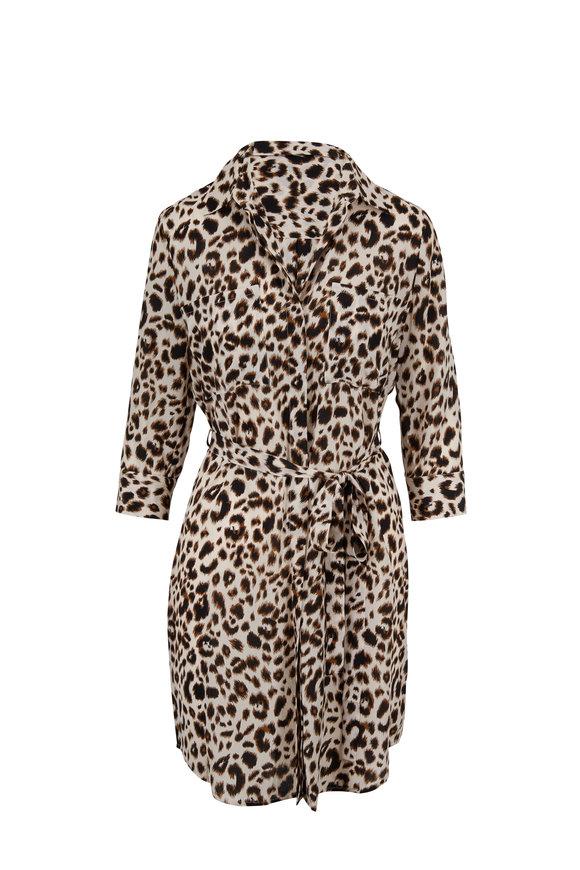 L'Agence Stella Leopard Print Silk Tie Waist Dress