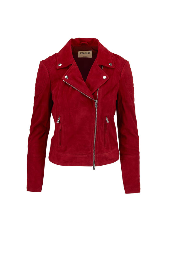 L'Agence Ryder Roadster Red Suede Moto Jacket