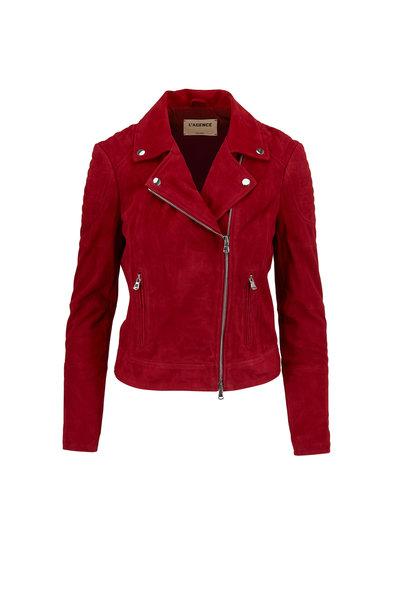 L'Agence - Ryder Roadster Red Suede Moto Jacket
