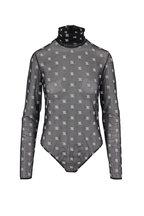 Fendi - Black Sheer Karligraphy Embroidered Bodysuit