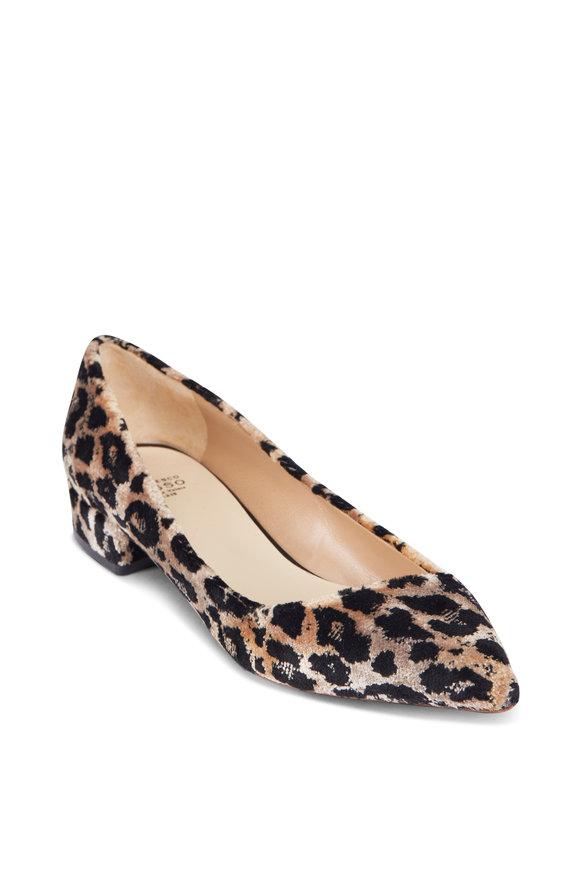 Francesco Russo  Leopard Velvet Pointed Ballet Flat