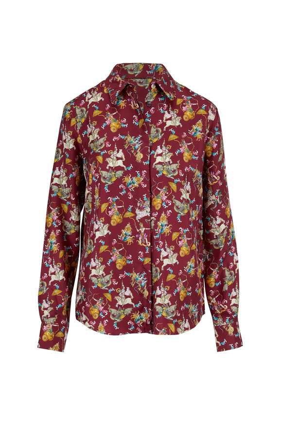 Gabriela Hearst Henri Cranberry Mythical Print Silk Blouse