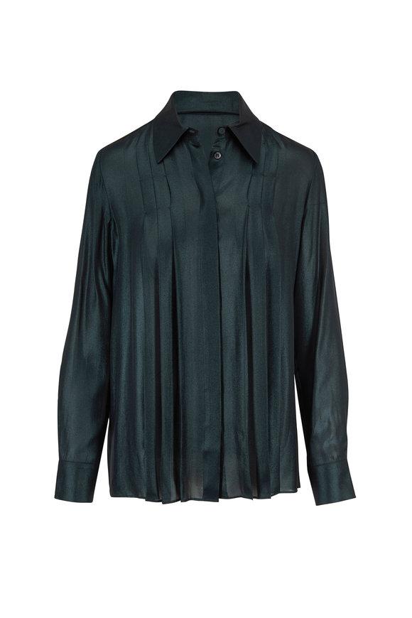 Gabriela Hearst Pierre Emerald Foiled Silk Pleated Blouse