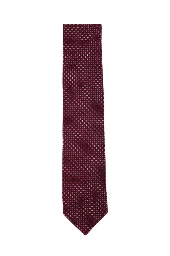 Eton Raspberry Micro Tile Silk Necktie