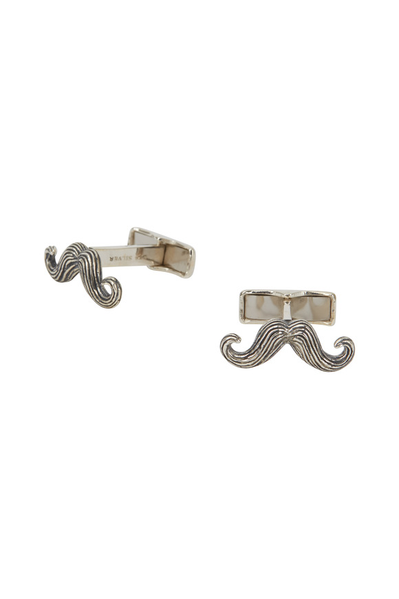 Cufflinks Inc Sterling Silver Mustache Cuff Links