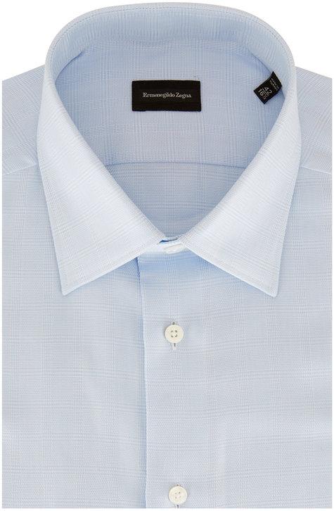 Ermenegildo Zegna Blue Textured Plaid Dress Shirt