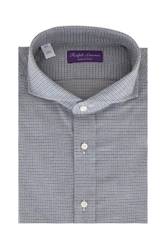 Ralph Lauren Blue Houndstooth Sport Shirt
