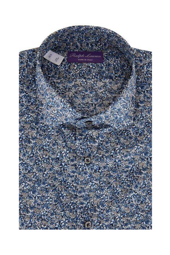 Ralph Lauren Blue Floral Print Sport Shirt