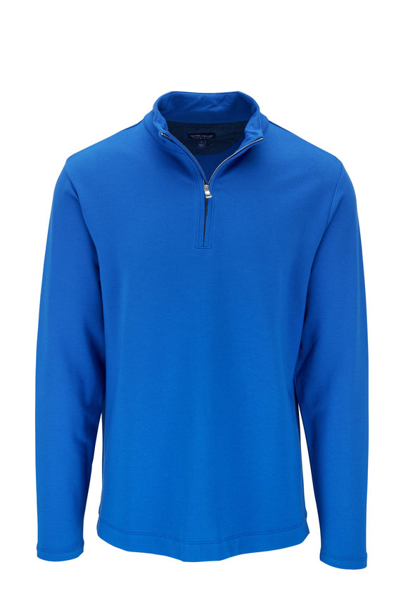 Peter Millar Ace Crown Crafted Blue Quarter-Zip Pullover
