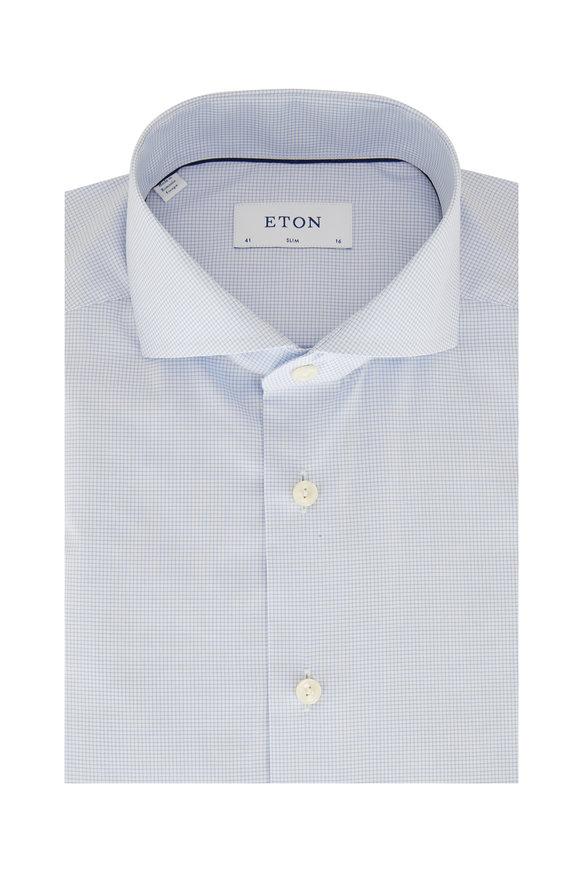 Eton Light Blue Mini Tattersall Slim Fit Dress Shirt