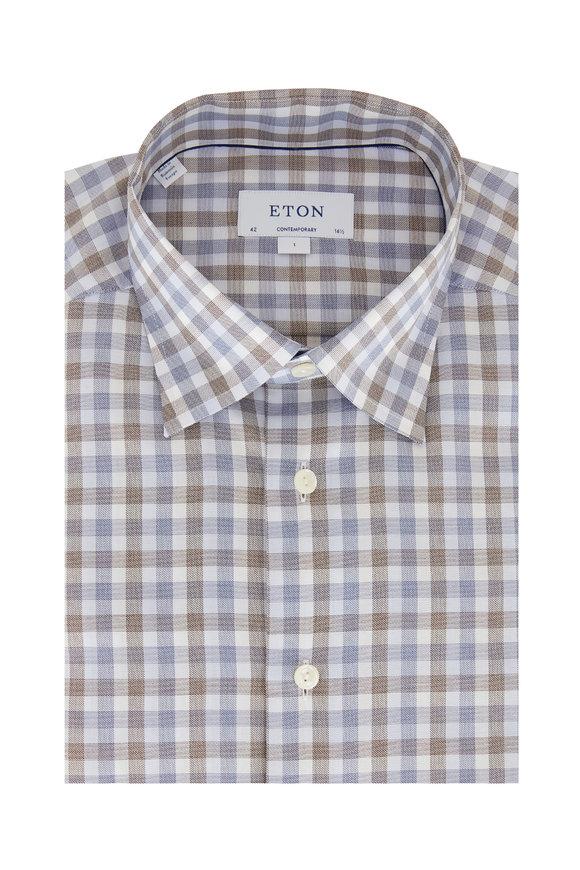 Eton Blue & Gray Gingham Contemporary Fit Dress Shirt