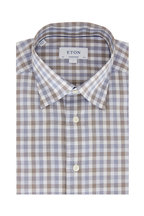 Eton - Blue & Gray Gingham Contemporary Fit Dress Shirt