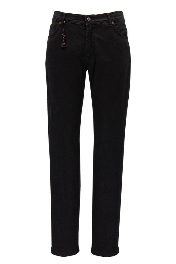 Marco Pescarolo Black Cotton & Cashmere Five Pocket Pant