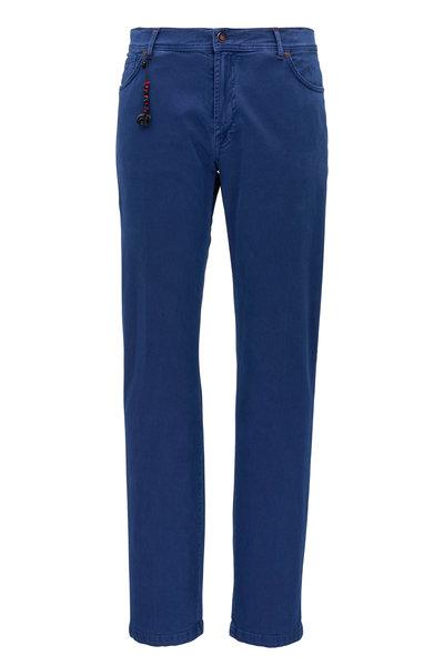 Marco Pescarolo - Cobalt Blue Cotton & Cashmere Five Pocket Pant