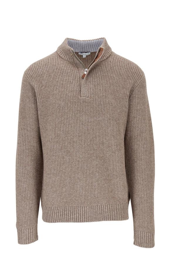 Peter Millar Tan Basketweave Knit Quarter-Zip Sweater