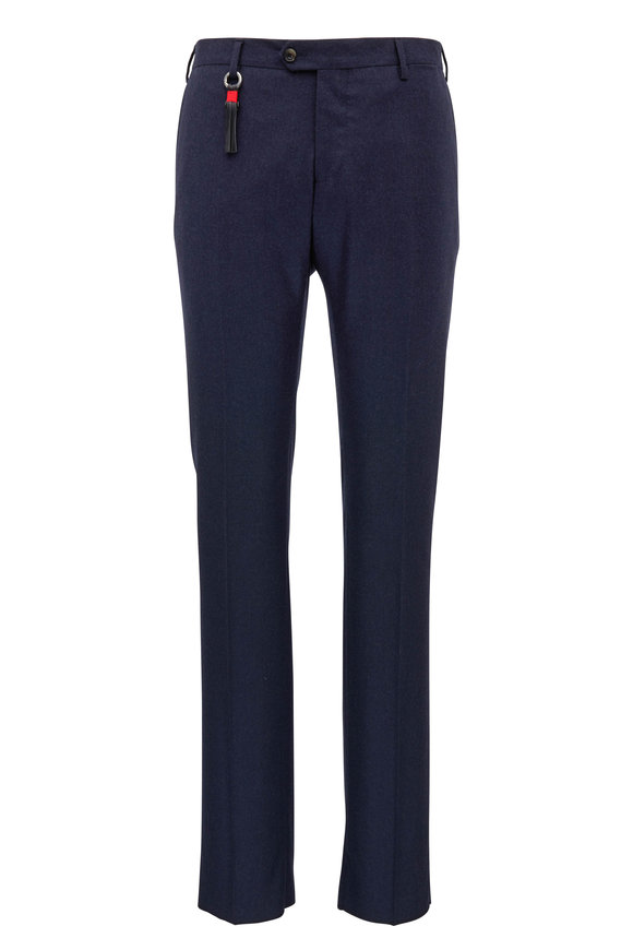 Marco Pescarolo Navy Stretch Cashmere Slim Fit Pant