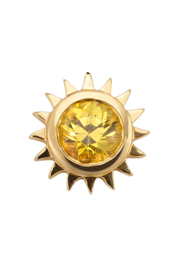 Robinson Pelham 14K Gold Stud Club Yellow Sapphire Sun Single Stud
