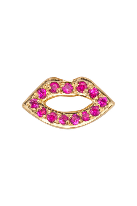 Robinson Pelham 14K Gold Stud Club Pink Sapphire Lips Single Stud